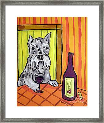 Schnauzer At The Wine Bar Framed Print by Jay  Schmetz