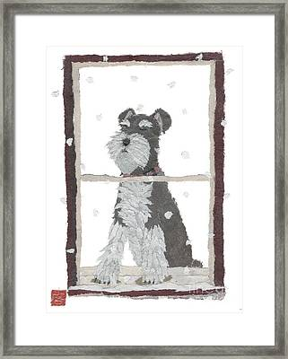Schnauzer Art Hand-torn Newspaper Collage Art Framed Print by Keiko Suzuki Bless Hue