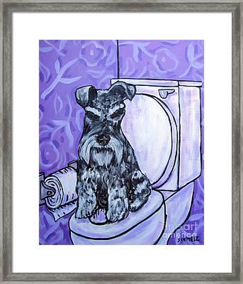 Schnauzer In The Bathroom Framed Print by Jay  Schmetz