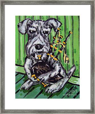 Schnauzer Playing Bagpipes Framed Print by Jay  Schmetz