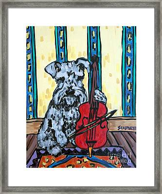 Schnauzer Playing Cello Framed Print by Jay  Schmetz