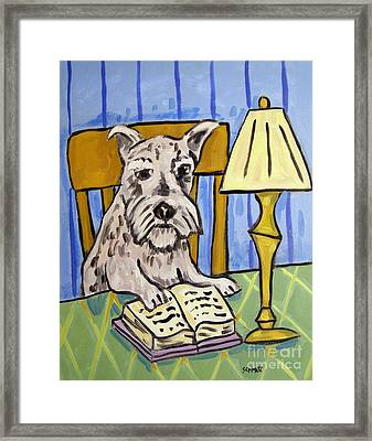 Schnauzer Reading A Book Framed Print by Jay  Schmetz