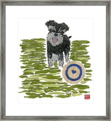 Schnauzer Art Hand-torn Newspaper Collage Art Dog Portrait Framed Print by Keiko Suzuki Bless Hue
