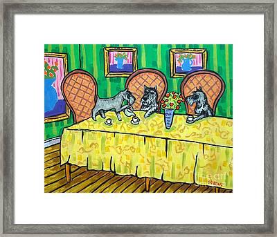 Schnauzers Tea Party Framed Print by Jay  Schmetz