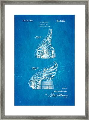 Schnell Pontiac Chief Hood Ornament Patent Art 1926 Blueprint Framed Print
