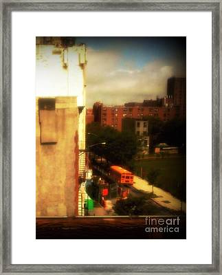 School Bus - New York City Street Scene Framed Print by Miriam Danar