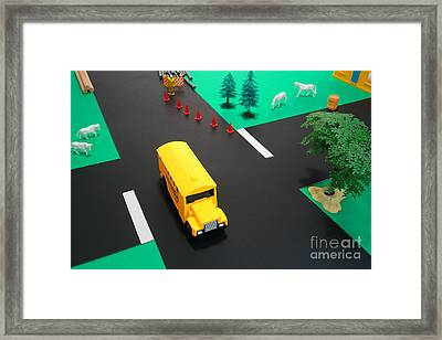 School Bus School Framed Print by Olivier Le Queinec