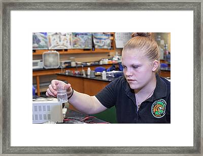 School Chemistry Experiment Framed Print by Jim West