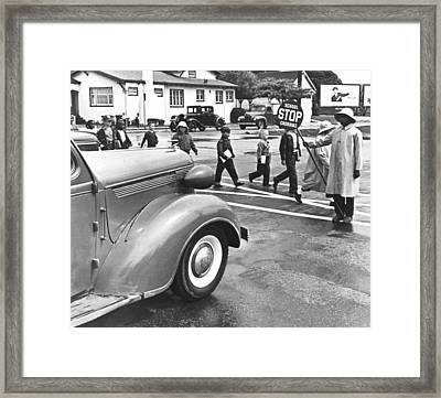 School Crossing Guard Framed Print by Underwood Archives