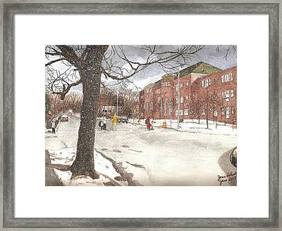Framed Print featuring the painting School Days In Medford - Brooks School by June Holwell