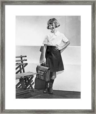 School Fashion Girl Framed Print by Frederick Bradley