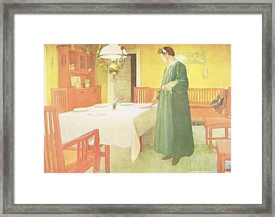 School Household, Dining Room Scene Framed Print