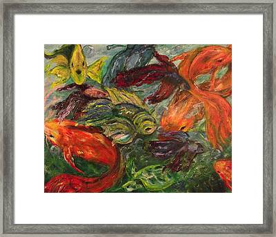 Feast Of Many Fishes Framed Print by Nancy Welsch