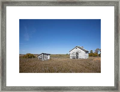School With Outhouse Framed Print by Donald  Erickson