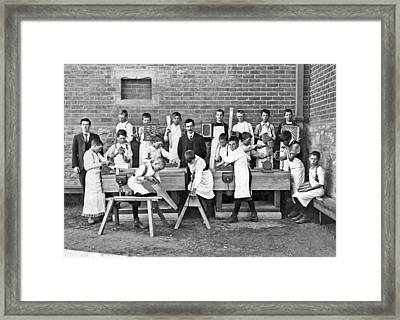 School Woodworking Class Framed Print by Underwood Archives