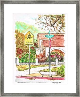 School Xing Sign In Santa Paula, California Framed Print