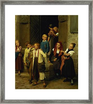 Schoolchildren Watching A Boy Cry Framed Print by Friedrich Edouard Meyerheim