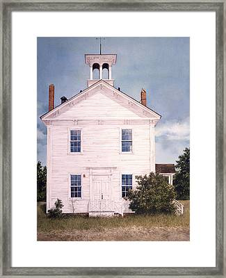 Framed Print featuring the painting Schoolhouse by Tom Wooldridge