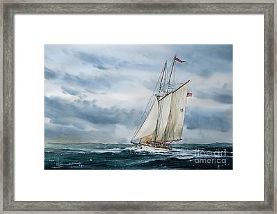Schooner Adventuress Framed Print by James Williamson