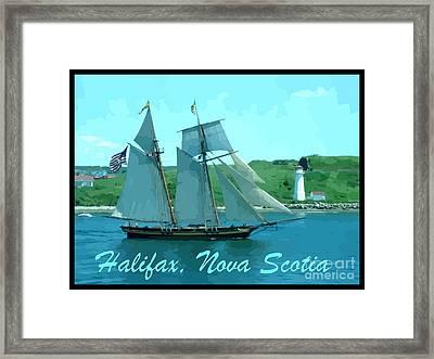 Schooner And Lighthouse Framed Print