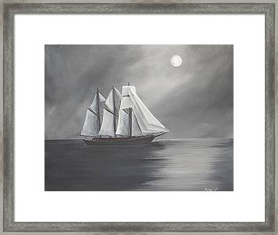 Schooner Moon Framed Print by Virginia Coyle