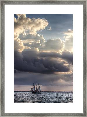 Schooner Pride And Clouds Framed Print by Dustin K Ryan