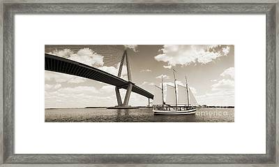 Schooner Pride And Cooper River Bridge Framed Print by Dustin K Ryan