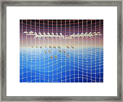 Schooner Race Horse Clouds Framed Print