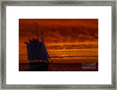 Schooner Sailboat Sunset Charleston South Carolina Framed Print by Dustin K Ryan