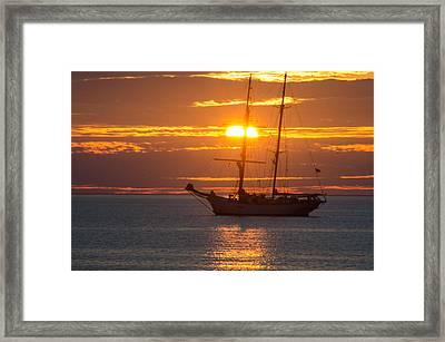 Schooner Sunset Framed Print
