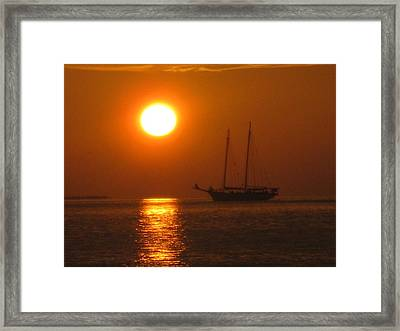 Schooner Sunset Framed Print