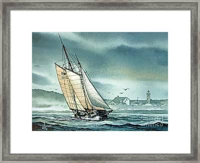 Schooner Voyager Framed Print by James Williamson