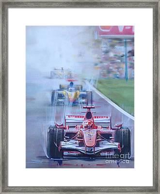 Schumacher In Motion Framed Print by Marco Ippaso