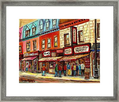 Schwartz The Musical Painting By Carole Spandau Montreal Streetscene Artist Framed Print