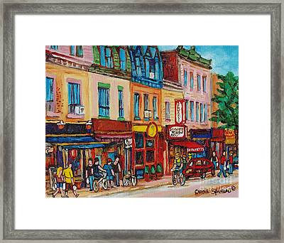 Schwartzs Deli And Warshaw Fruit Store Montreal Landmarks On St Lawrence Street  Framed Print by Carole Spandau