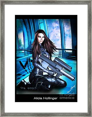 Sci-fi Brunette With A Big Gun Framed Print