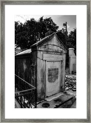 Sciaccaluga Family Vault In Black And White Framed Print