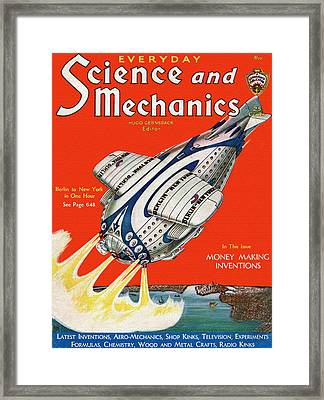 Science And Mechanics Magazine Cover 1931 Framed Print by Mountain Dreams