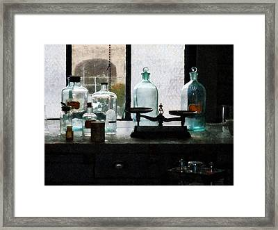 Science - Balance And Bottles In Chem Lab Framed Print by Susan Savad
