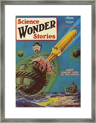 Science Wonder Stories  1929 1920s Usa Framed Print by The Advertising Archives