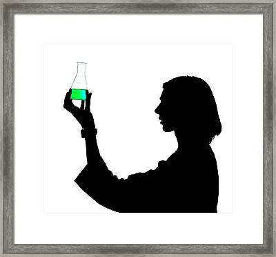 Scientist And Conical Flask Framed Print by Natural History Museum, London