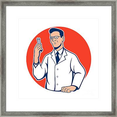 Scientist Lab Researcher Chemist Cartoon Framed Print by Aloysius Patrimonio