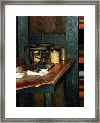 Scientist - Pan Balance And Alum Framed Print
