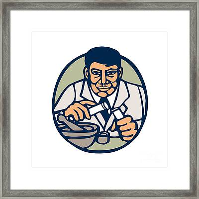 Scientist Test Tube Woodcut Linocut Framed Print