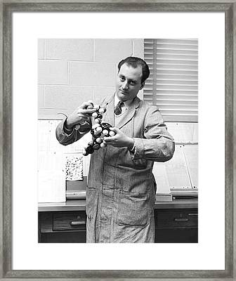 Scientist With Molecule Model Framed Print by Underwood Archives