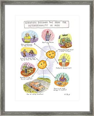 Scientists Discover The Gene For Heterosexuality Framed Print by Roz Chast