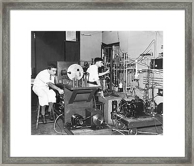 Scientists Test Auto Ignition Framed Print by Underwood Archives