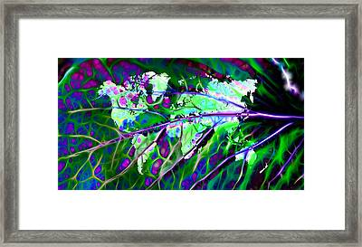 Scintillating Leaf World Map Framed Print