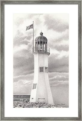 Framed Print featuring the drawing Scituate Light by Donna Basile