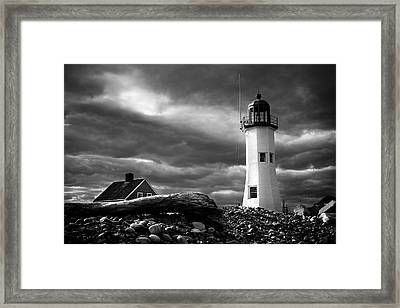 Framed Print featuring the photograph Scituate Lighthouse Under A Stormy Sky by Jeff Folger